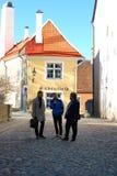 塔林,爱沙尼亚, 05/02/2017人谈话在街道上 免版税库存照片