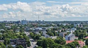 塔林,爱沙尼亚21 07 2017城市T的风景夏天全景 库存图片
