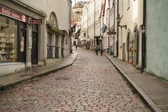 塔林,爱沙尼亚-大约2017年10月:老塔林街道在秋天 库存照片