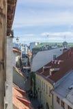 塔林,爱沙尼亚- 2016年7月06日:街道、塔林议院和屋顶在夏日 库存照片