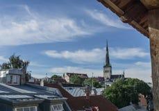塔林,爱沙尼亚- 2016年7月06日:街道、塔林议院和屋顶在夏日 免版税库存照片