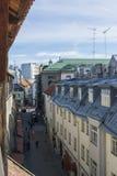 塔林,爱沙尼亚- 2016年7月06日:街道、塔林议院和屋顶在夏日 图库摄影
