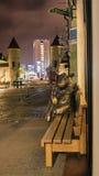 塔林,爱沙尼亚- 11月7 :公牛的一个铜雕塑 免版税库存照片