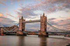 塔桥梁,伦敦,日落的 库存图片