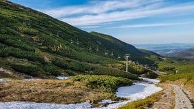 塔特拉山脉国家公园风景风景有山的在与天空蔚蓝附近的扎科帕内村庄,波兰的晴朗的春日 免版税图库摄影