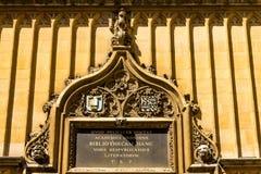 塔装饰细节在安置Bodleian图书馆的五等级的在牛津 图库摄影