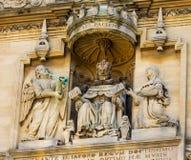 塔装饰细节在安置Bodleian图书馆的五等级的在牛津 免版税库存图片