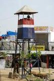 塔警察岗位的印度武装的警察 免版税库存照片