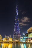 塔Burj哈利法在晚上 迪拜 阿拉伯联合酋长国 免版税库存图片