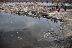 巴塘村庄爆破在北部雅加达 免版税库存照片