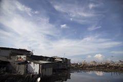 巴塘村庄爆破在北部雅加达 库存照片