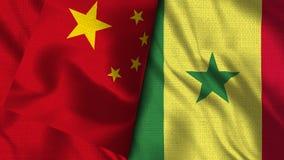 塞内加尔和中国旗子- 3D例证旗子 皇族释放例证