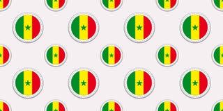 塞内加尔回合旗子无缝的样式 塞内加尔背景 传染媒介圈子象 几何标志贴纸 纹理为 皇族释放例证