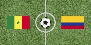 塞内加尔对在橄榄球的哥伦比亚国际足球比赛旗子 免版税库存图片
