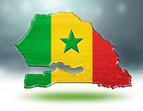 塞内加尔设计地图与足球场草纹理的  免版税图库摄影