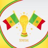 塞内加尔金子橄榄球战利品/杯和旗子 向量例证