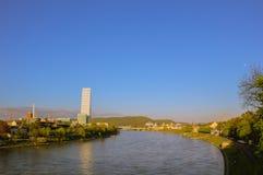 巴塞尔全景有罗氏塔的 库存照片
