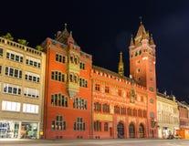 巴塞尔城镇厅(Rathaus)在晚上-瑞士 免版税图库摄影