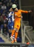 塞尔焦加西亚(L) Espanyol竞争与塞尔希奥・拉莫斯(R)皇马 免版税图库摄影