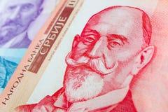 塞尔维亚人1000 dinara货币钞票,关闭 塞尔维亚金钱RS 库存照片