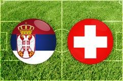 塞尔维亚对瑞士足球比赛 图库摄影