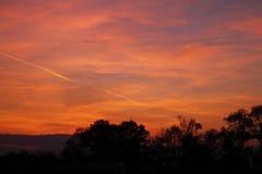 塞尔维亚的风景有温暖的日落和视觉角度的 免版税库存图片