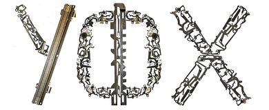 塞尔维亚西里尔字母,信件` У, Ф, X `拉丁` U, F, H `,从金属零件聚集 免版税图库摄影