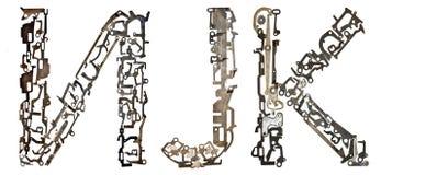 塞尔维亚西里尔字母,信件` И, J, K `拉丁`我, J, K `,从金属零件聚集 免版税图库摄影