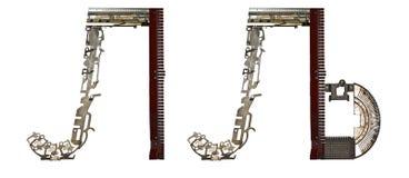塞尔维亚西里尔字母,信件` Л, Ð ‰ `拉丁` L, LJ `,从金属零件聚集 免版税库存图片
