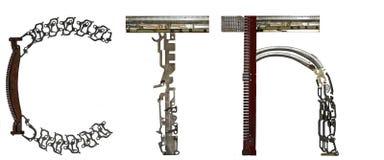 塞尔维亚西里尔字母,信件` Ð ¡, T, Ð ‹`拉丁` S, T, Ä † `,从金属零件聚集 免版税库存照片