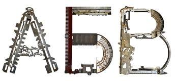 塞尔维亚西里尔字母,信件` A, Ð `, B `拉丁A, B, V,从金属零件聚集 免版税库存照片