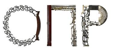 塞尔维亚西里尔字母,信件` O, П, P `拉丁` O, P, R,从金属零件聚集 免版税库存图片