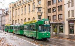巴塞尔,瑞士- 11月03 :是在城市铈的4/4 SWP电车 免版税库存照片