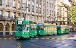 巴塞尔,瑞士- 11月03 :是在城市铈的4/4 SWP电车 图库摄影
