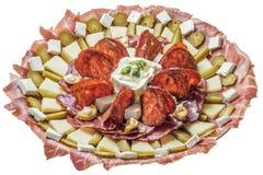 塞尔维亚传统开胃菜美味盘在白色背景隔绝的Meze 免版税库存图片