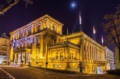 塞尔维亚的总统办公室在晚上 免版税图库摄影