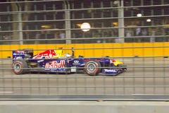 塞巴斯蒂安Vettel胜利的把握新加坡F1 免版税图库摄影