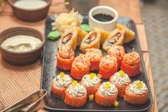 塞思寿司和卷餐馆,菜单概念 抽象背景异教徒青绿 免版税库存图片