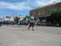 塞恩,怀俄明,美国- 2010年7月26-27, :在街市Cheye的游行 免版税图库摄影