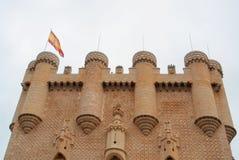 塞戈维亚一座著名城堡城堡的美丽的装饰的塔  免版税库存照片