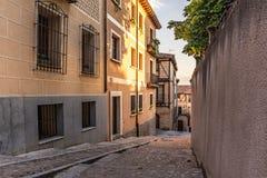 塞戈维亚卡斯蒂利亚y利昂,西班牙历史犹太邻里  免版税库存图片