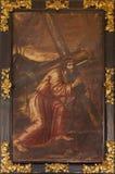 塞戈维亚,西班牙, 2016年4月- 14日:耶稣基督绘画在十字架下的在教会莫纳斯特里奥de真正的圣安东尼奥el里 免版税库存照片