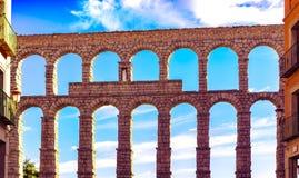 塞戈维亚Aquaduct墙壁正面图 图库摄影