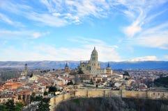 塞戈维亚,西班牙全景  免版税库存照片