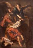 塞戈维亚,西班牙, 4月:圣马修油漆福音传教士在我们的设想的夫人大教堂里由未知的艺术家 免版税库存照片