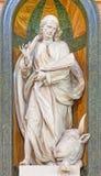 塞戈维亚,西班牙, 2016年4月- 14日:圣卢克被雕刻的多彩巴洛克式的雕象大教堂Nuestra de夫人la的亚松森 库存照片