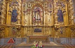 塞戈维亚,西班牙, 2016年4月- 14日:圣安东尼巴洛克式的法坛在我们的假定的夫人大教堂里  免版税库存图片