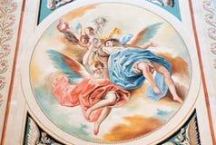 塞戈维亚,西班牙, 2016年4月- 14日:天使壁画与念珠的唐拉蒙Bayeu & x28; 1789& x29; 图库摄影
