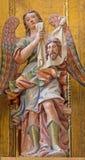 塞戈维亚,西班牙, 2016年4月- 14日:天使巴洛克式的雕象与`圣洁面孔`的 库存图片