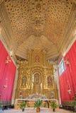 塞戈维亚,西班牙, 2016年4月- 14日:教会莫纳斯特里奥de圣安东尼奥el圣所真正与mudejar被雕刻的天花板 库存照片